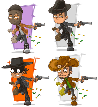 Cartoon bank robber criminal with money and pistol character vector set