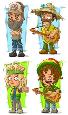 漫画面白い田舎農家とギター文字でヒッピーのベクトルのセット