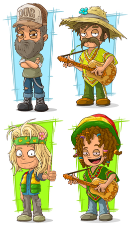 Cartoon funny redneck farmer and hippie with guitar character vector set Illustration