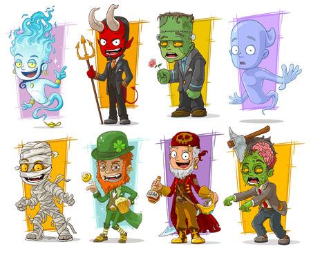 Großer Vektorsatz der Karikatur lustiger Monster-Charaktere. Band 2