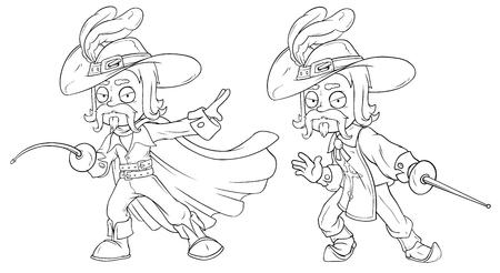 Mousquetaire de bande dessinée en chapeau avec jeu de vecteur de personnage épée Banque d'images - 81895261