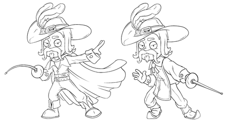 Cartoon musketeer in hat with sword character vector set Illustration