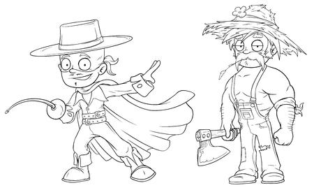 Cartoon masked hero strong farmer character vector set Illustration