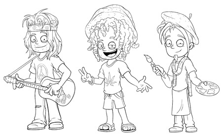 Cartoon hippie with guitar jamaican artist character vector set