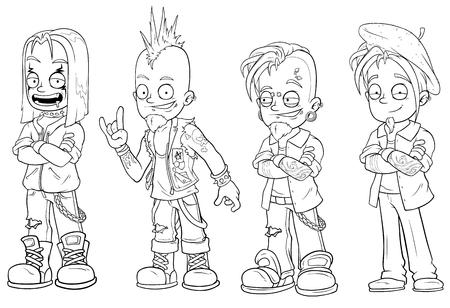Cartoon punk rock metal guys character vector set Illustration