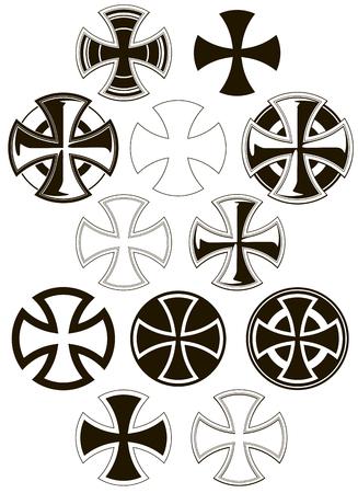 In bianco e nero grafica diversi icone trasversali set di vettore Archivio Fotografico - 83739797