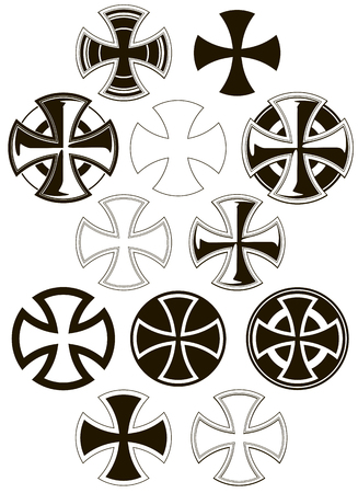 Zwart en wit grafische verschillende iconen vector set Stock Illustratie