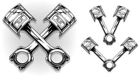 Detailed graphic black car engine piston on white background vector set