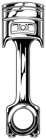 Graphic black car engine piston on white background vector Stock Illustratie