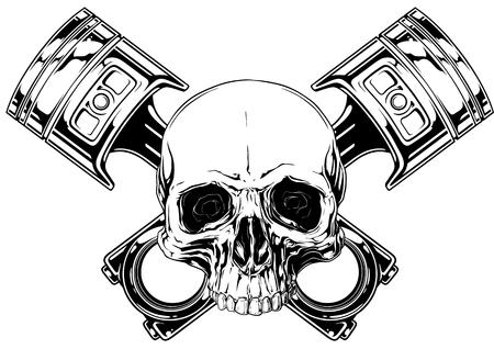 Grafische gedetailleerde zwart-witte menselijke schedel met gekruiste auto zuigers op witte achtergrond vector