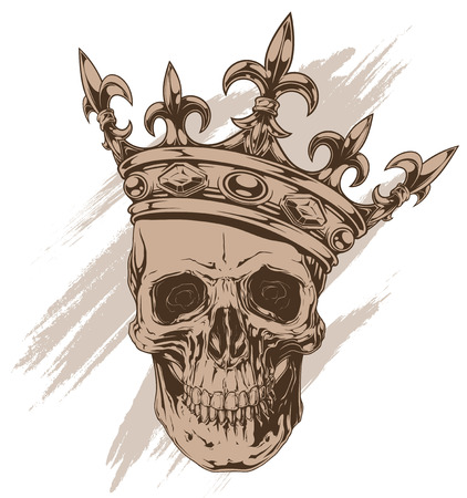 Graphic brown human skull with royal lily king crown and diamonds vector