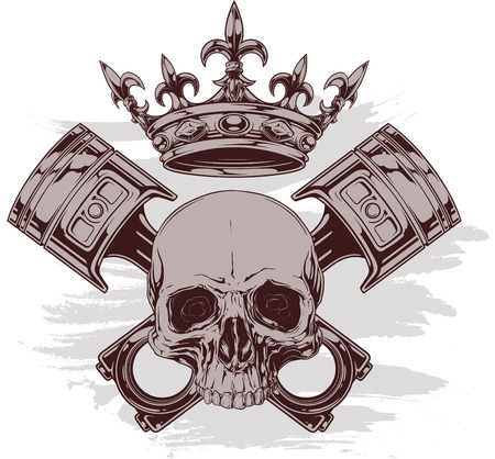 Graphic color human skull with royal lily crown and crossed car pistons vector