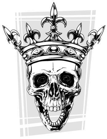 Graphic black and white human skull with royal lily king crown and diamonds on grey background vector