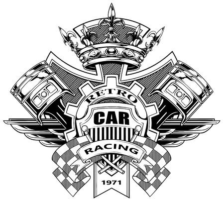 交差したレース旗ピストン ロイヤル ダイヤモンド クラウンと黒と白のグラフィックの紋章付き外衣ギアし、ベクトルの翼  イラスト・ベクター素材