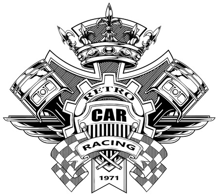 Black and white graphic coat of arms with crossed racing flag pistons royal diamond crown gear and wings vector
