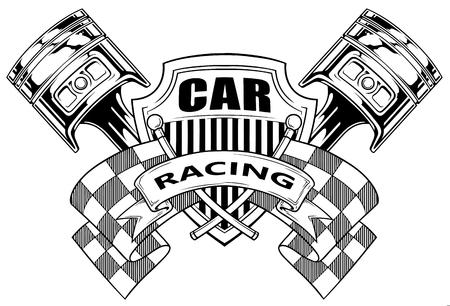 Escudo de armas gráfico blanco y negro con pistones de bandera de carreras cruzadas y escudo en vector de fondo blanco
