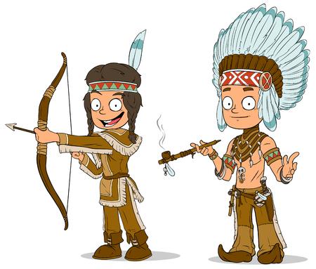 Ilustración De La Familia De Nativos Americanos Esbozó Para Colorear ...