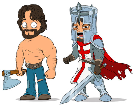 Cartoon knight and lumberjack characters set Illustration