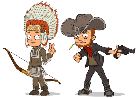 Cartoon indian boy and cowboy characters set Illustration