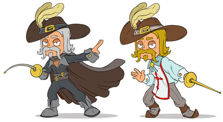 Cartoon musketeer with sword characters vector set Illustration