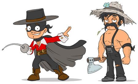 Cartoon masked hero and farmer characters set Illustration