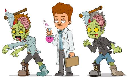 Cartoon walking zombie scientist characters set