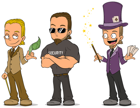 black haired: Cartoon magician and security characters set