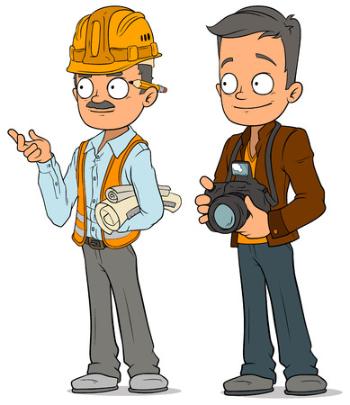 Cartoon engineer and photographer characters set Illustration
