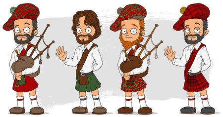 Cartoon scottish with bagpipe characters set Vektoros illusztráció