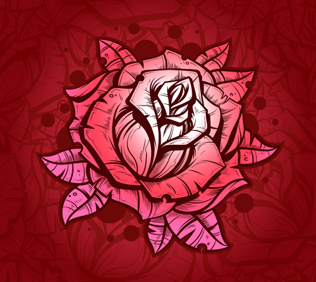 Pink graphic realistic detailed vector rose
