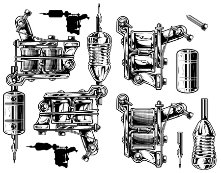 Graphic black and white tattoo machine set. Vol. 1 Illustration