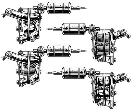 Graphic black and white tattoo machine set Vol. 10