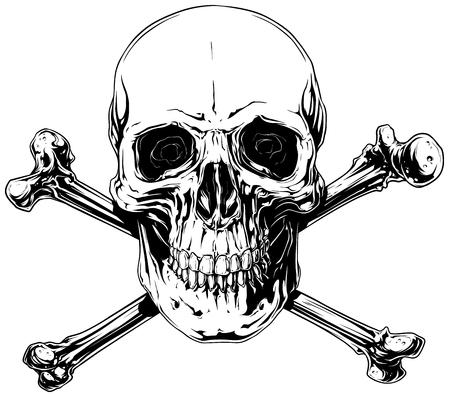 交差した骨とグラフィックの詳細な人間の頭蓋骨  イラスト・ベクター素材