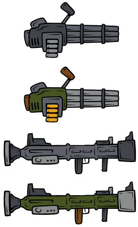 Cartoon machine guns and bazooka vector icons.