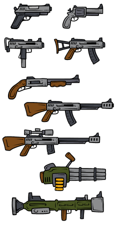 Cartoon weapons and firearms vector icons