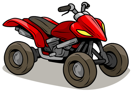 Cartoon red modern offroad quad motorbike Vector illustration.