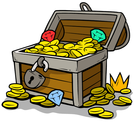 Cartoon open treasure chest with gold coins Vector illustration. Illustration