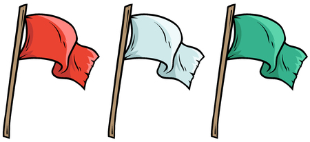 Cartoon colored waved flags on wooden stick Vector illustration.