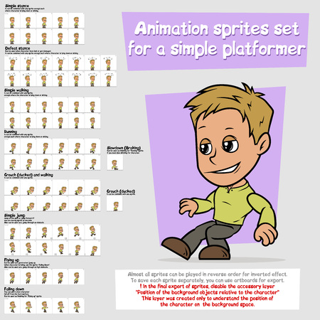 Cartoon boy platformer animation sprites sheet set Vectores