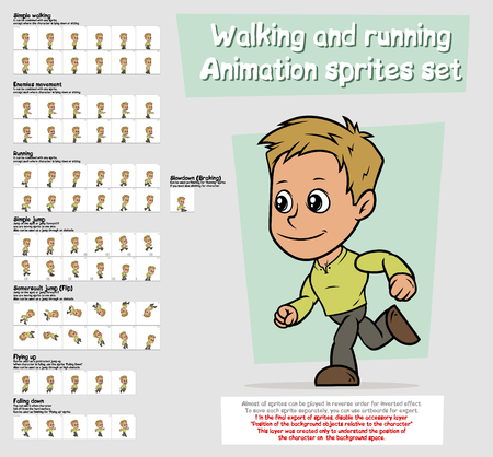 Cartoon boy character animation