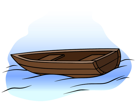 Cartoon wooden rowboat on water