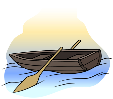 Cartoon wooden brown rowboat with two oars Banco de Imagens - 101850416