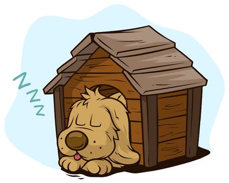 Cartoon niedlicher schlafender Hund im hölzernen Zwinger