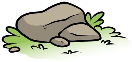 Cartoon gray stone on green grass