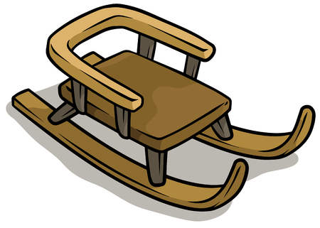 Cartoon wooden brown sledge vector icon