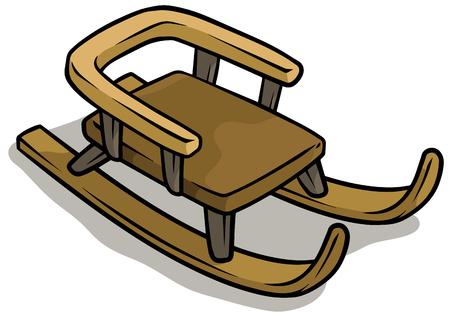 Icono de vector de trineo marrón de madera de dibujos animados Ilustración de vector