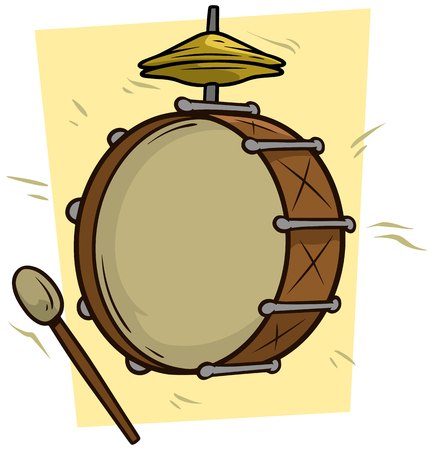 Cartoon drum and big drumstick vector icon