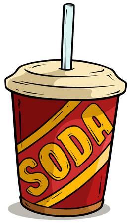 Cartoon plastic cup of soda drink with straw Illusztráció