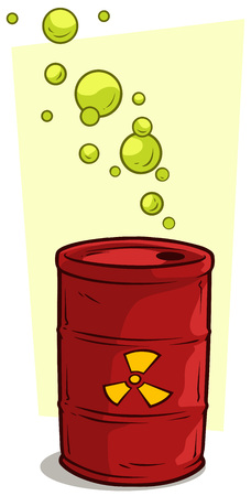 Cartoon red metal barrel with radiation sign Illustration