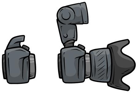 Cartoon digital camera with big lens vector set